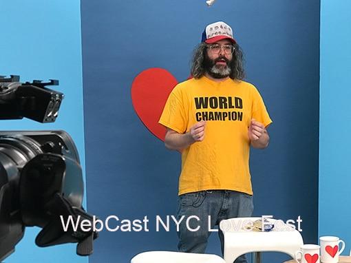 """Image . * . 510 Webcast of """"Love Fest"""" hosted by Judah Friedlander. Image of Judah on set."""