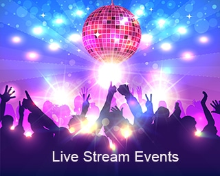 "Dance party with disco ball with caption ""Live Stream Events"""