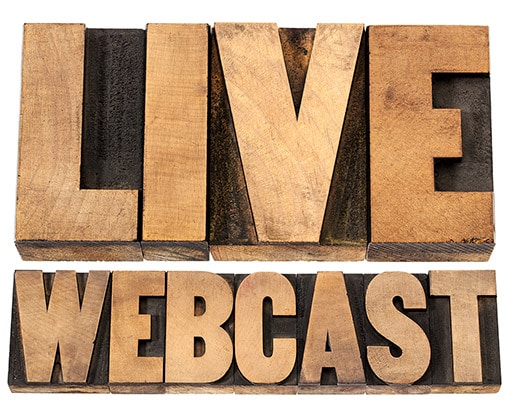 "The words ""Live WebCast: carved in wood white BG"