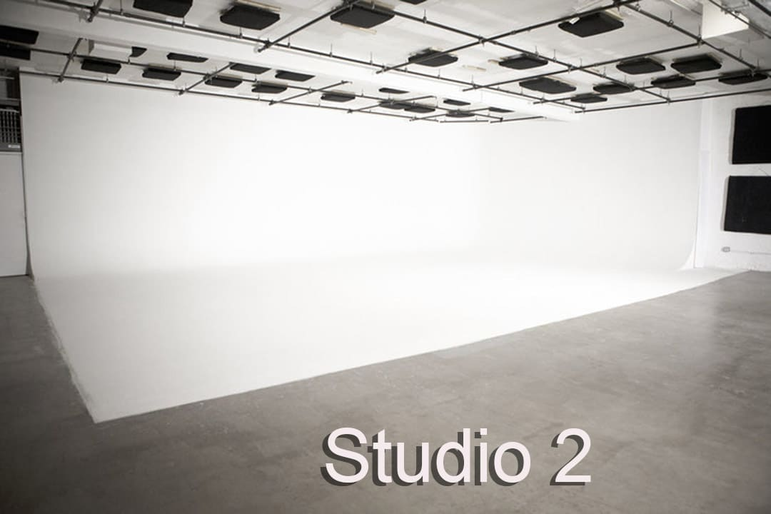 Stage 2 cyclorama . large two walled white cyc