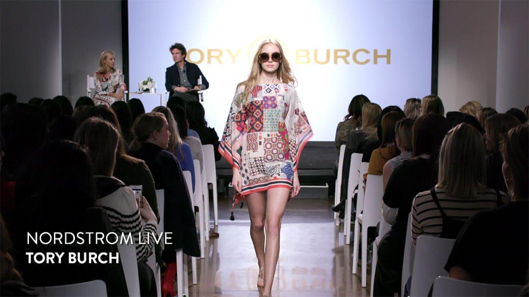 TORY BURCH 8 1080 . Blonde Model walks toward camera Webcast at Milk Studio for Nordstrom