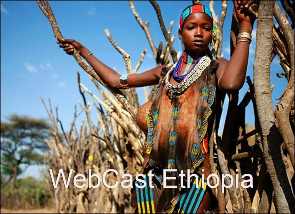 "Beautiful African woman in thicket of tree branches with caption ""WebCast Ethiopia"""
