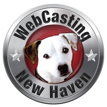WebCasting New Haven logo .white dog on red . background with silver outer ring . with URL name