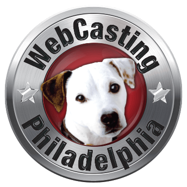 WebCasting Philadelphia logo .white dog on red . background with silver outer ring . with URL name