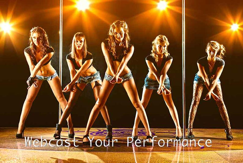 Dancing girls on stage with caption WebCast Your Performance