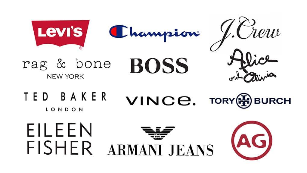 Logos of major fashion week design brands.