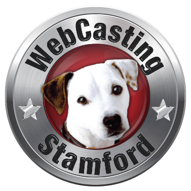 WebCasting Stamford logo .white dog on red . background with silver outer ring . with URL name