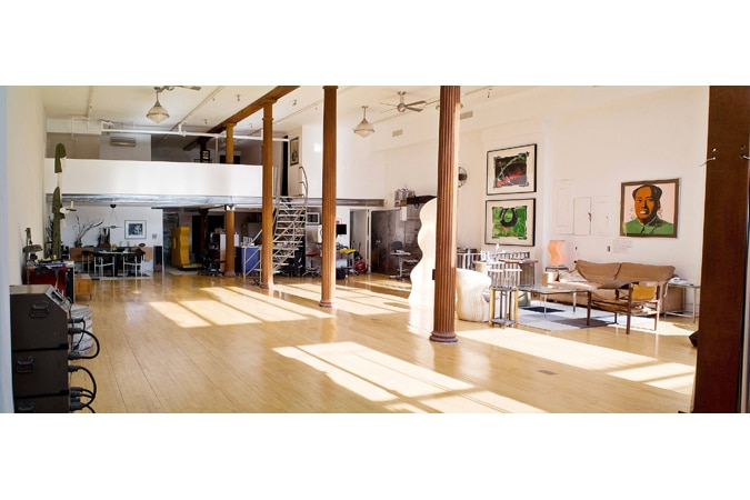 Video Shooting Location : TriBeca large loft with furniture high ceilings Studio-Towards-Stairs