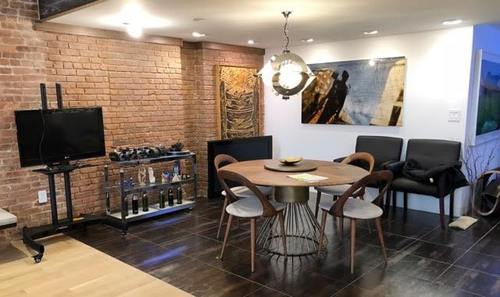 * Image Tribeca studio and loft breakfast nook Rental . brick wall, table and chairs (green Screen Sound Stage Rental NYC)