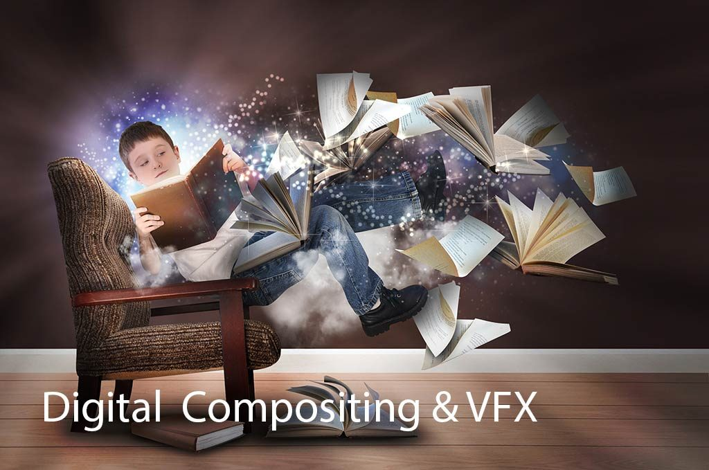 VFX Boy Floating In Chair with flying books - Text and Image Digital Compositing & VFX