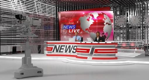 Big News TV Studio with Presenters Rigged model