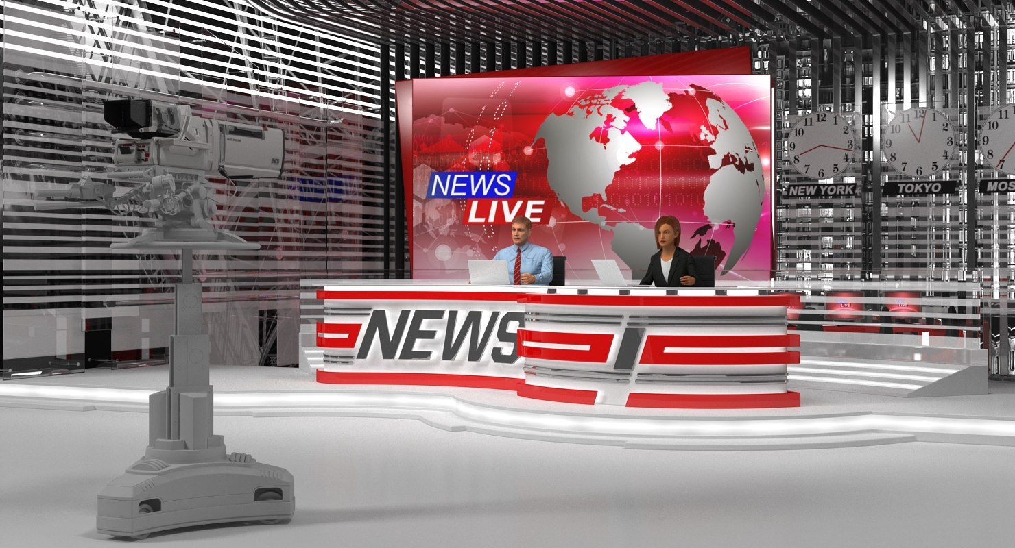News Desk - Big News TV Studio  with Presenters Rigged 3D model