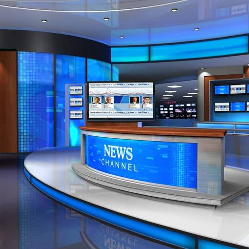 Virtual #D/4K News Desks & News Room #2 Blue News Desk 3D Virtual Set
