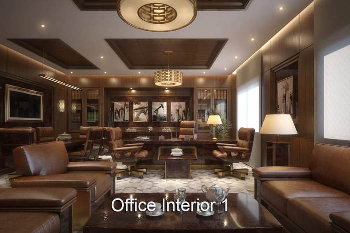 Executive Office Interior Leather Couches