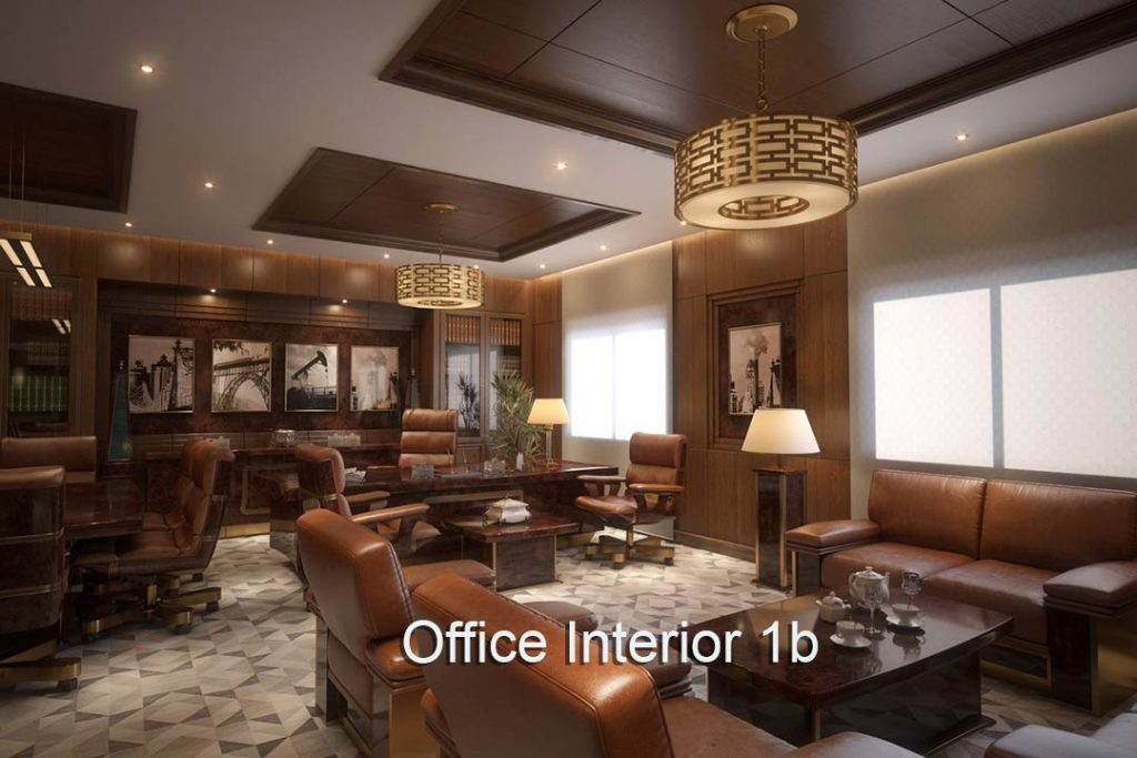 Executive Office Interior a1 . Leather and wood panneling