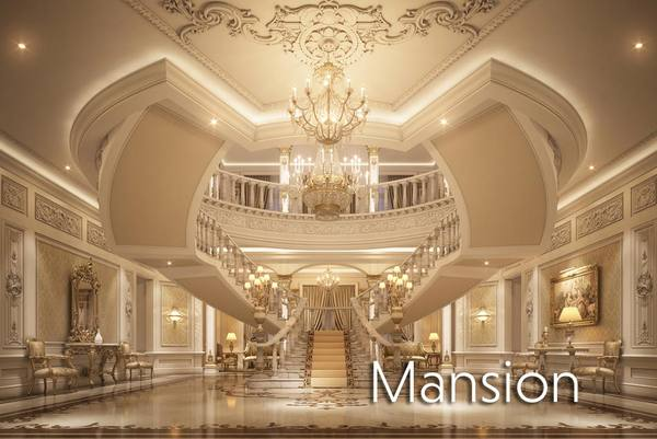 * Image Gold interior mansion virtual set