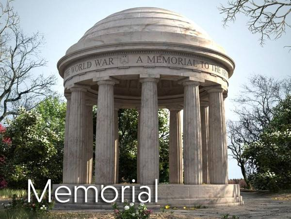 3d Virtual Set memorial structure outdoors
