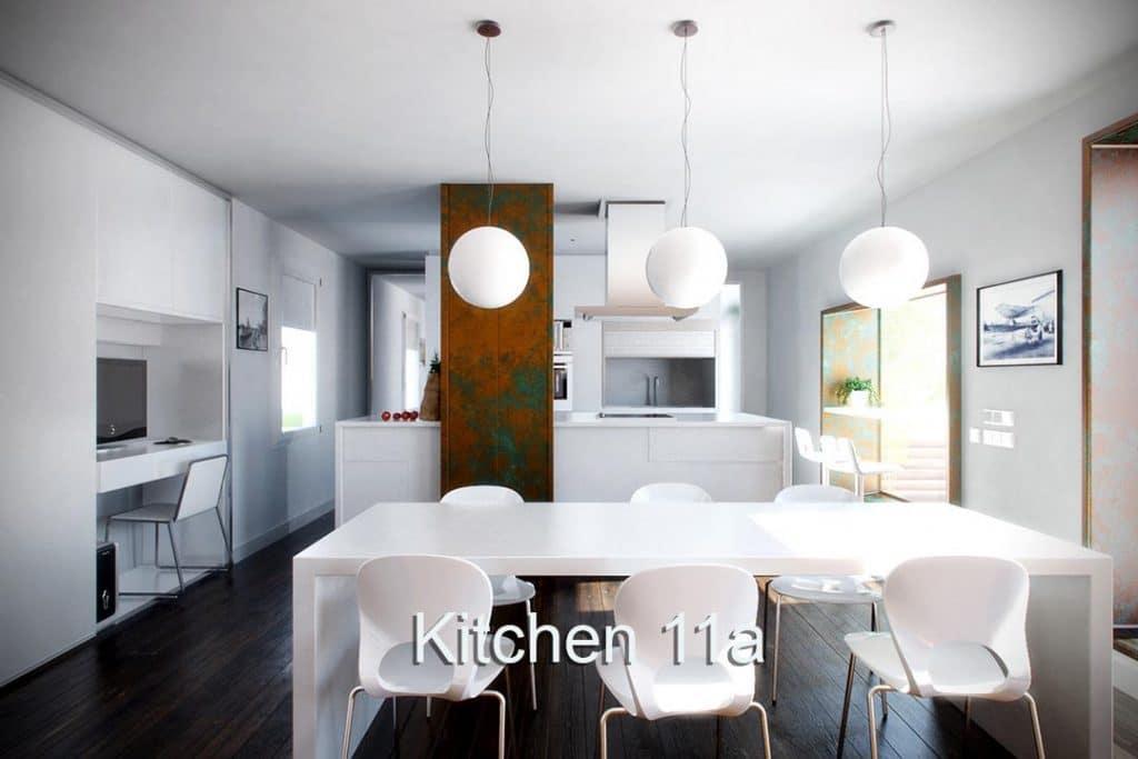 All white virtual set modern kitchen