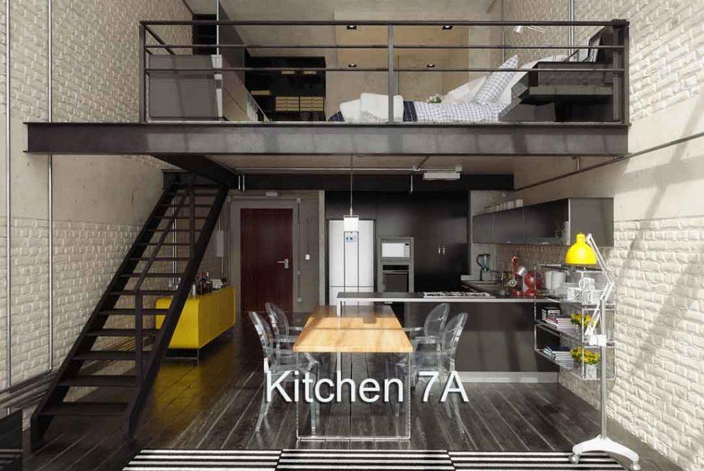4K Virtual Kitchen Set Modern with loft above