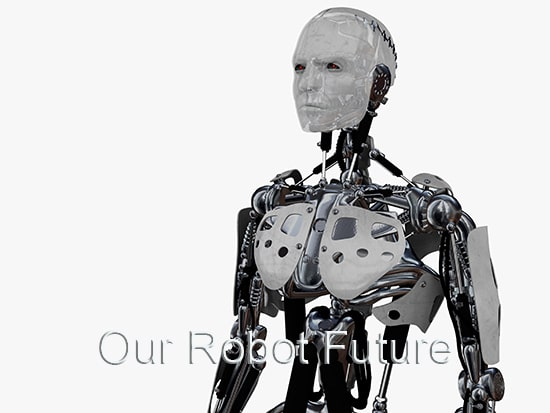 A male cyborg gazing into the future. Isolated on white background.