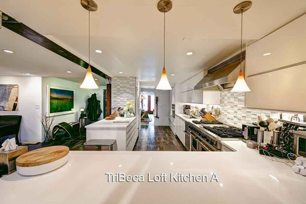 Tribeca Loft Kitchen A large white kitchen in beautiful loft