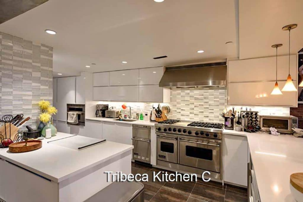Tribeca Loft Kitchen Video Stage modern kitchen set on video sound stage NYC