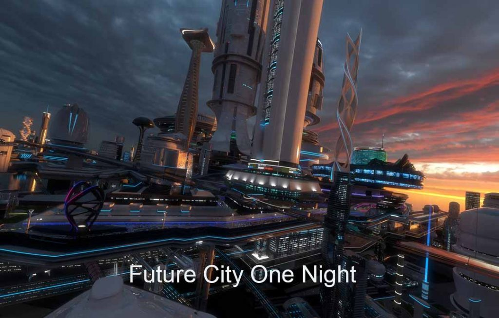 4k Virtual Set: Future City One Night
