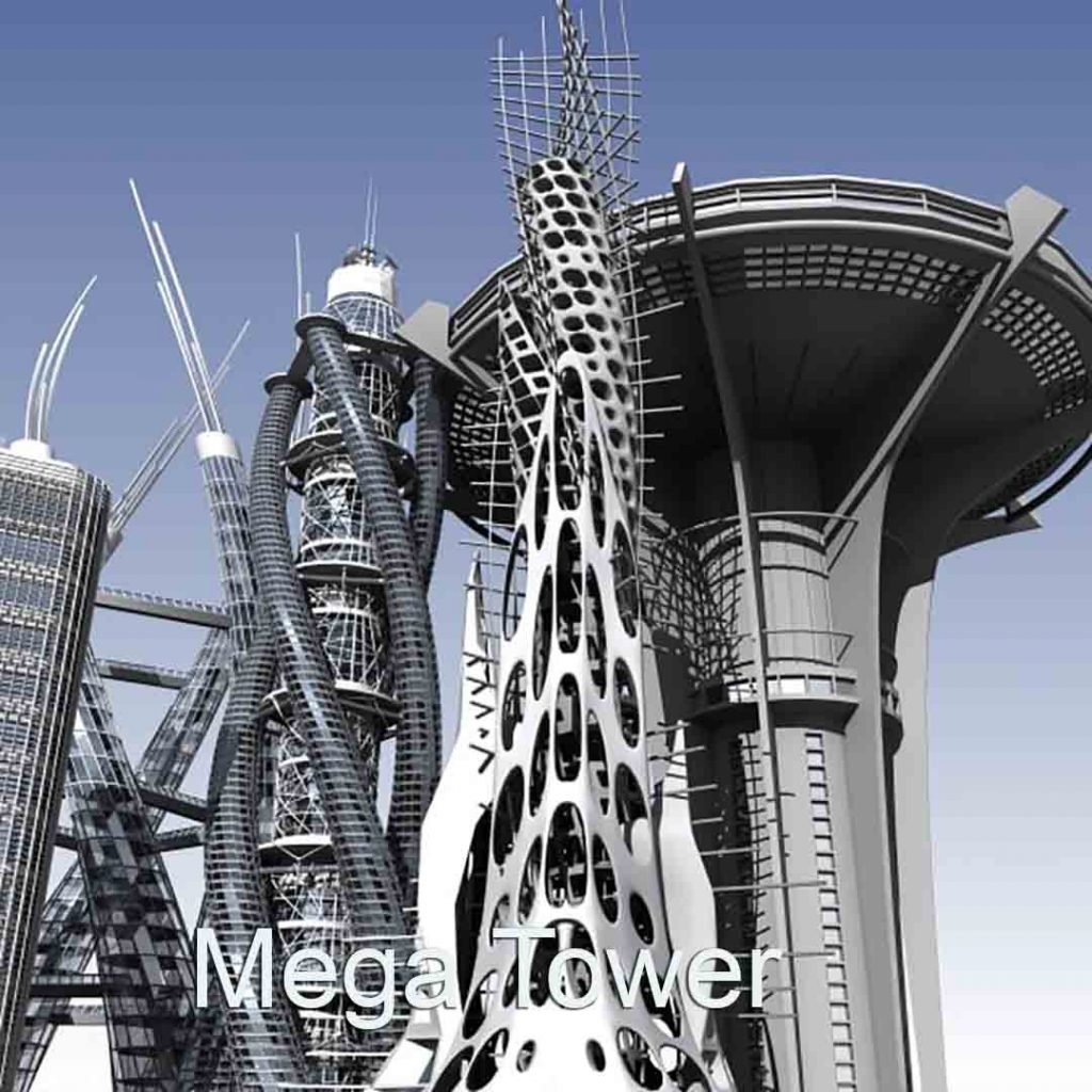3D Virtual Sets: Futuristic City Mega Tower