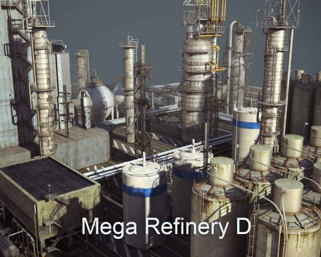 3D/4K Virtual Sets: Huge Refinery Night