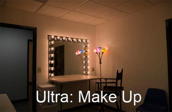 Ultra Studios Make UP. area with lighted mirror and chair