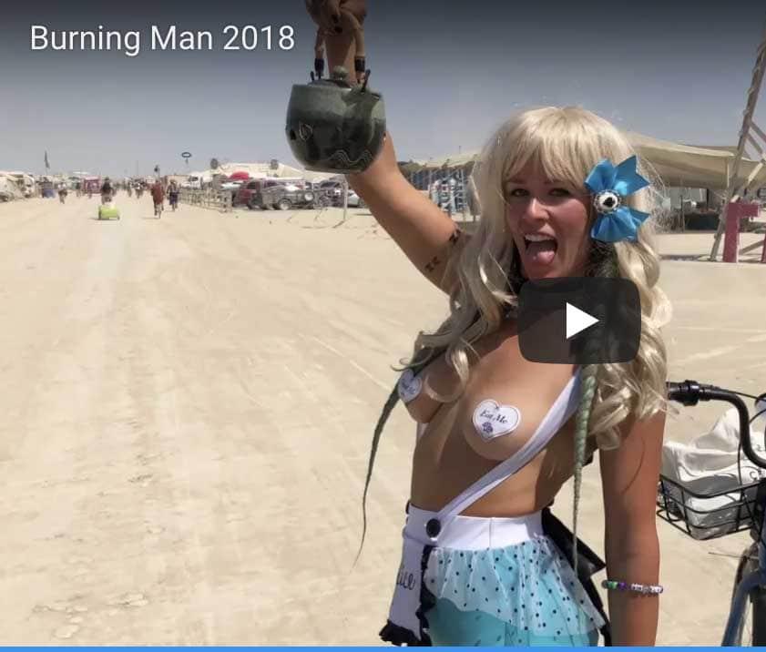 Burning Man 2018 Woman in metal bra and pants