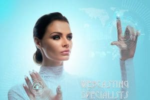Streaming Video Specialists Beautiful Woman at interactive screen