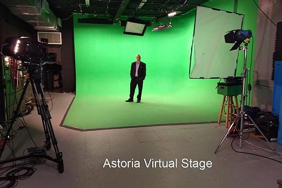 Astoria Virtual Stage: Green Cyc Studio- Green Screen sound Stage Rental