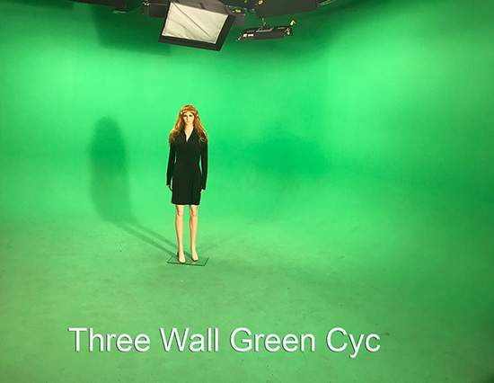 A Mannequin in front of a green screen: AMC Green Screen sound stage Studio Rentals