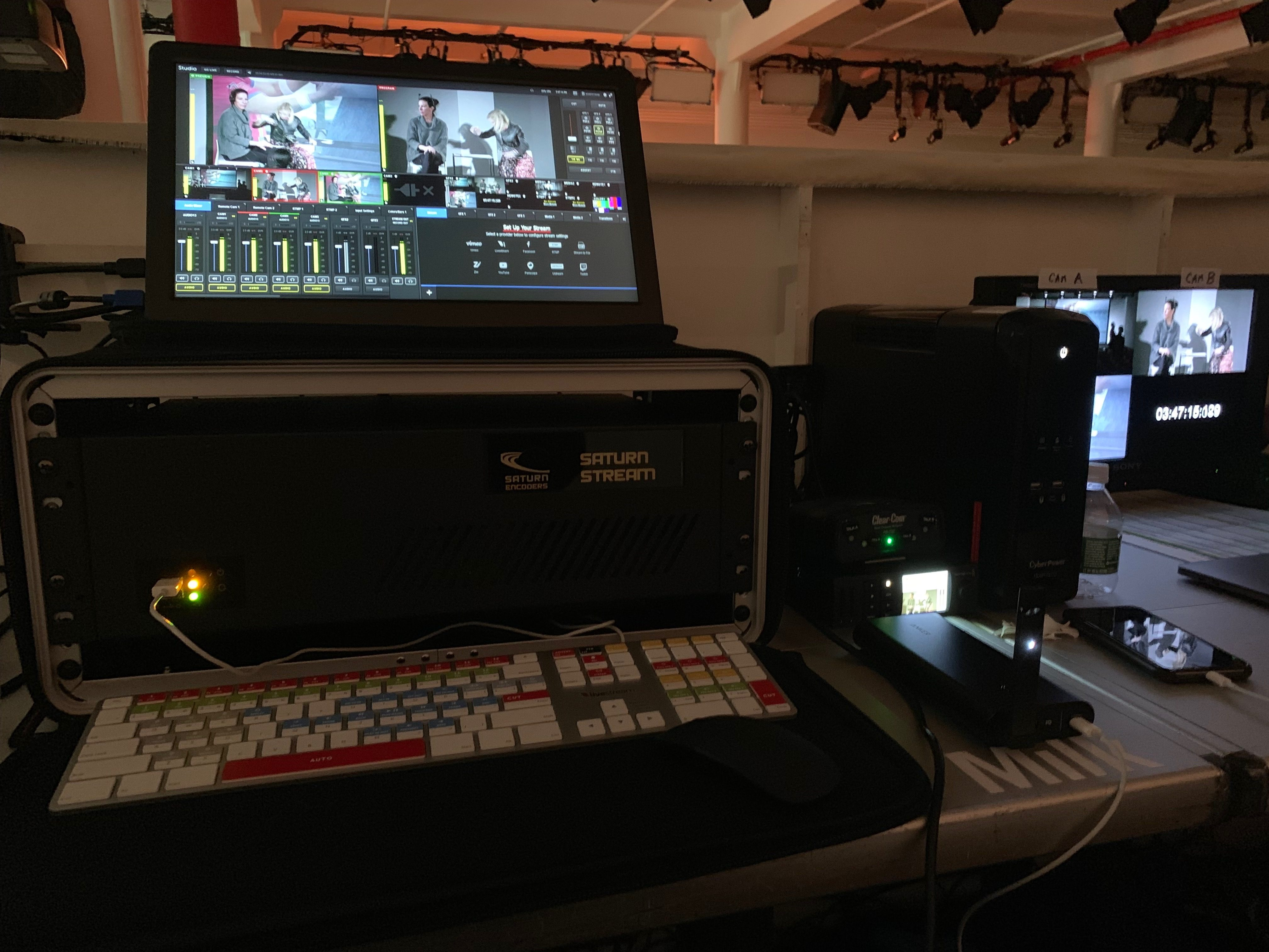 AMC's WebCasting wizard, Zack Breheney, set up for their live shows