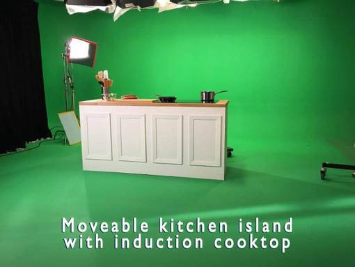 Moveable Kitchen Island with Induction Cooktop