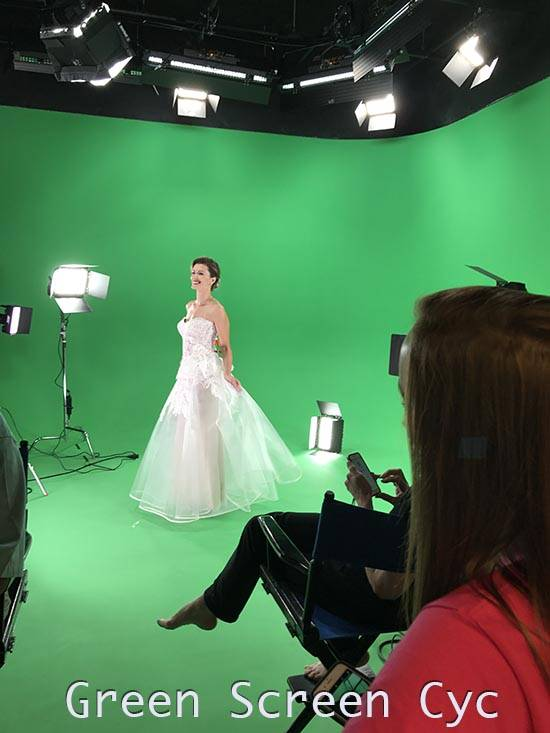 Green Screen  Photo shoot with wedding dress, AMC Green Screen Sound Stage Studio Rental