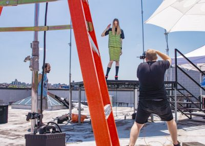 Downtown Brooklyn studios, Rooftop Rental, Rooftop Photoshoot - model and photographer - red ladder