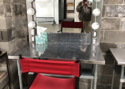 Makeup station - red chair - mirror