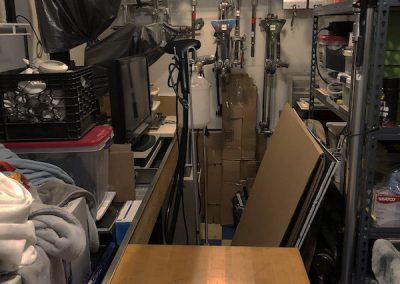 Gear closet - table, - very crowded
