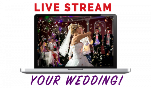 """Graphic with """"Live Stream Your Wedding! - couple dances - faded people in background."""