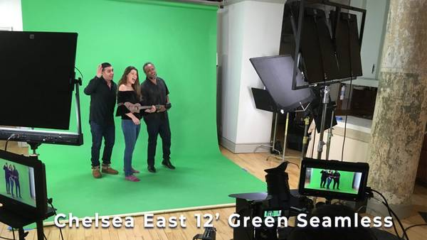 Chelsea East 12' Green Seamless: Studio Rental AMC -green Screen Sound stage rental