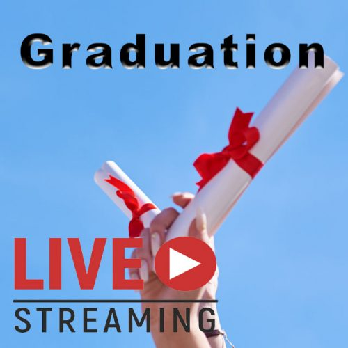 Live Streaming Graduations- Hand holding white diplomas , red ribbons