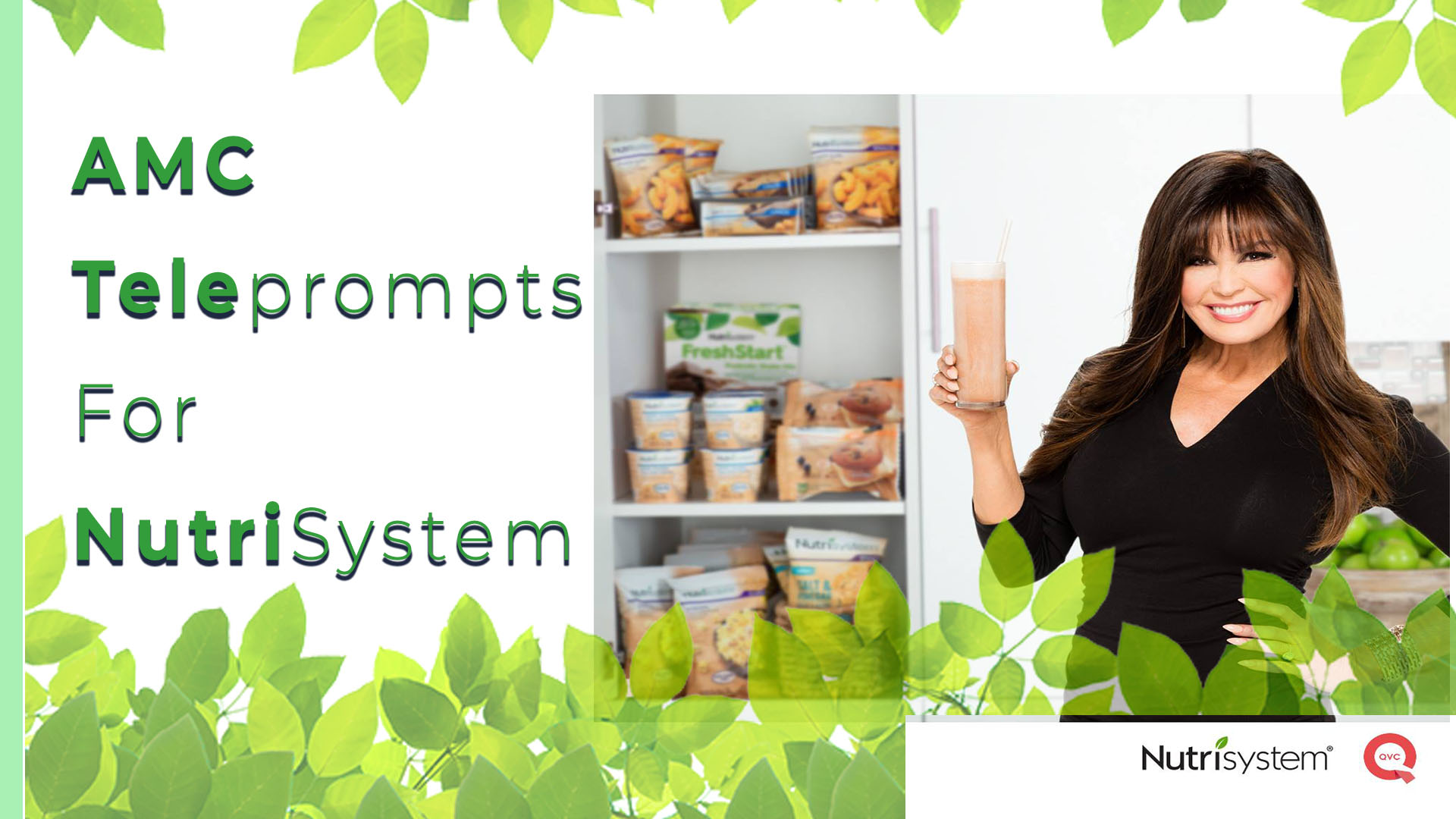 Marie Osmond holding glass - foliage, AMC Teleprompts for Nutrisystem