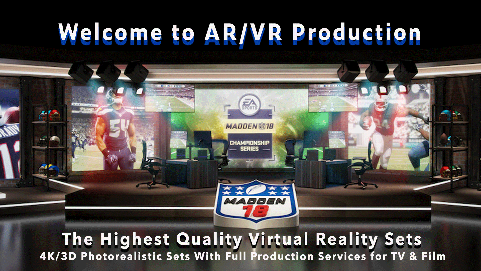 AR/VR production, welcome to AR/VR Production, the highest quality virtual relaity sets, background is a sports broadcasting virtual set