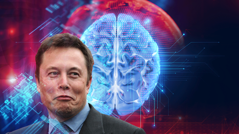 Elon Musk in front of Brain Diagram, Relating the news about his plans for artificial intelligence