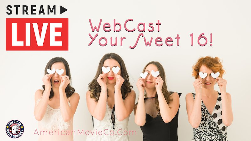 WebCast Your Sweet 16 Party - young girls with white hearts over their eyes look on very happy.  Stream Live