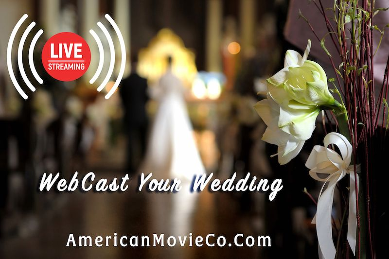 WebCast Your Wedding - slightly out of focus picture of bride in background - flowers on the right - Live Streaming - American Movie Co.com