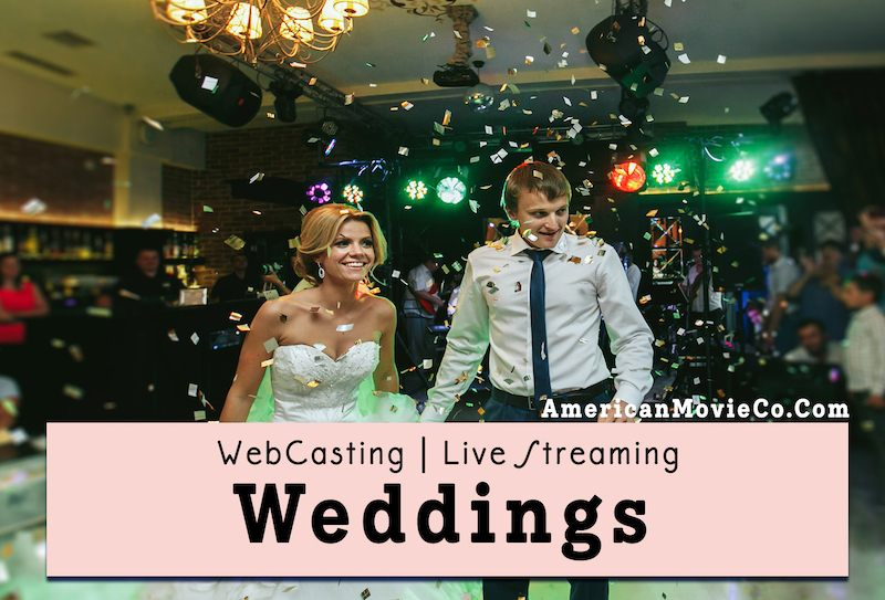 Happy couple at WebCasting of their wedding - American Movie Co provided services.