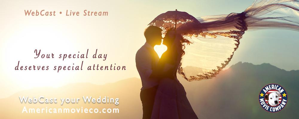 Couple at Sunset Live Streaming their wedding day with American Movie Company WebCasting services.